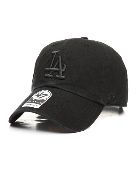 '47 - Los Angeles Dodgers Black on Black Clean Up 47 Strapback Cap