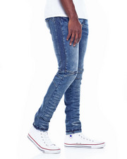 Slim - Dark Blue Side Ribb Moto Jean-2310202