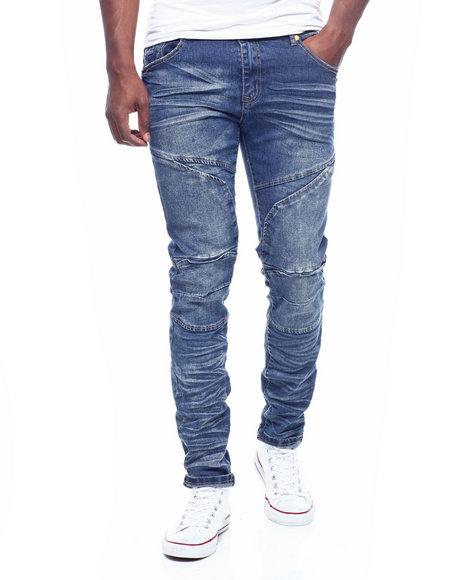 Buyers Picks - Dark Blue Moto Seamed Stretch Jean