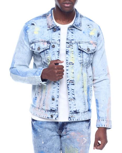 SMOKE RISE - Pastel Paint Denim Jacket