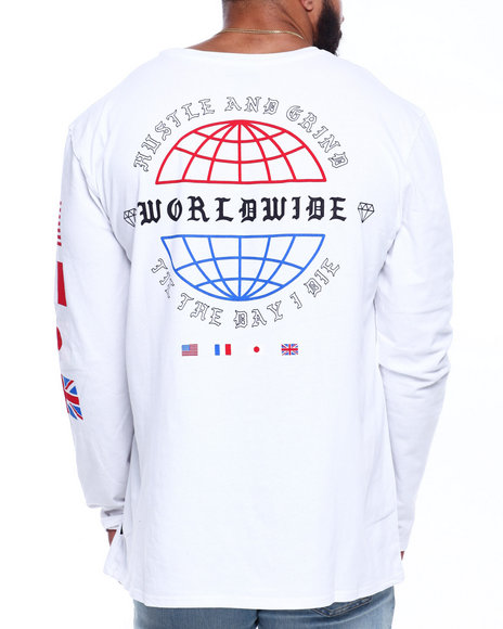 Brooklyn Cloth - L/S Worldwide Hustle Print Tee (B&T)