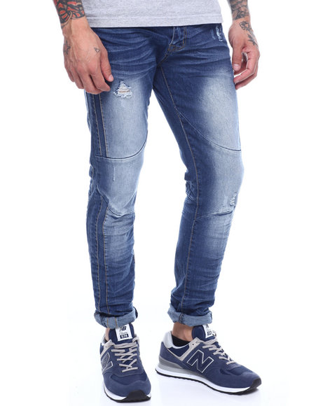 Buyers Picks - Med Blue  RIBBED STRETCH MOTO JEAN