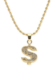 Accessories - Blinged Out Dollar Sign Chain-2310005