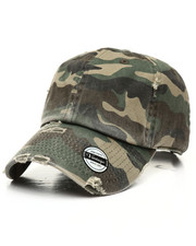 Hats - Distressed Vintage Camo Dad Hat-2310196