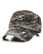 Hats - Distressed Vintage Black Camo Dad Hat-2310223