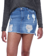 Bottoms - Destructed Denim Skirt-2311057