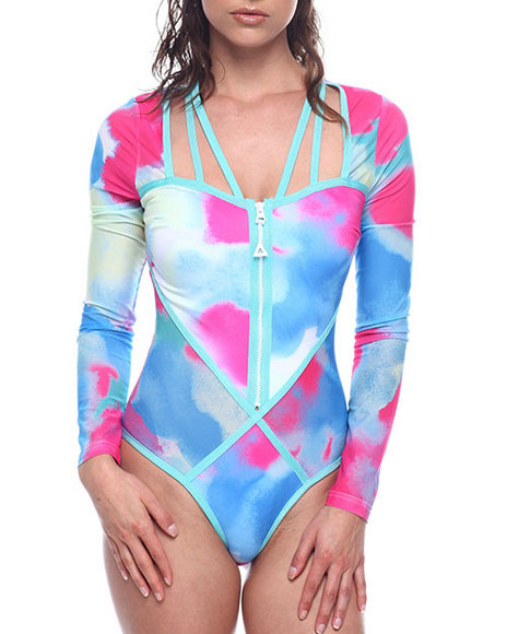 Wow Couture - ZIP FRONT LONG SLEEVE TIE DYE ONE PIECE SWIMSUIT