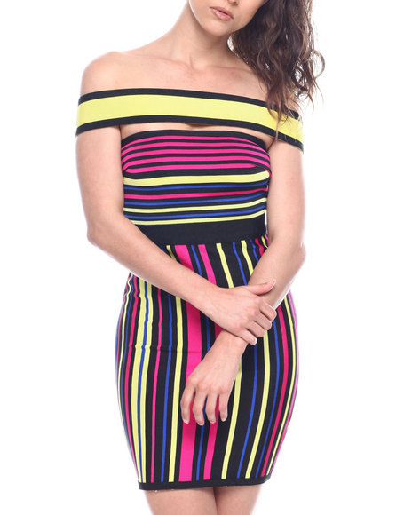 Wow Couture - OFF SHOULDER STRAP STRIPE DRESS