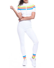 Wow Couture - RAINBOW STRIPE SHORT SLEEVE ZIP FRONT CROP TOP + HIGH WAIST LEGGING-2312394