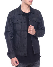 Denim Jackets - noir raw denim jacket-2313015