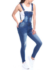 Fashion Lab - Distressed Button Front Denim Overall-2312777