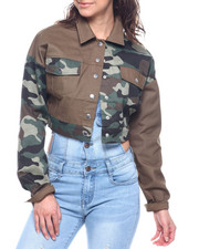 Women - BUTTON FRONT LONG SLEEVE PIECED CAMO CROP SHIRT-2312479