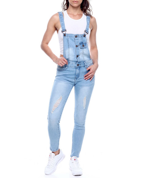 Fashion Lab - Distressed Button Front Denim Overall