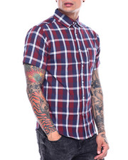 Button-downs - Red Window Pane Plaid SS Woven Shirt-2313497