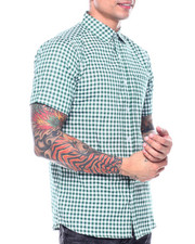 Button-downs - Green Gingham Plaid SS Woven Shirt-2313470