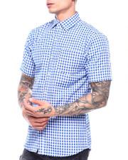 Button-downs - Blue Gingham Plaid SS Woven Shirt-2313459