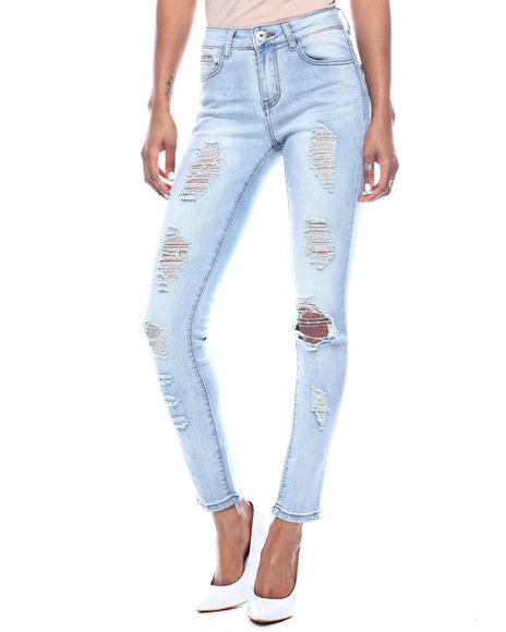 Fashion Lab - Destructed High Waisted 5 Pocket Skinny Jean