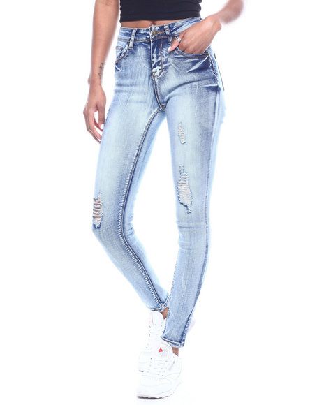 Fashion Lab - High Waist Acid Ripped Skinny Jean