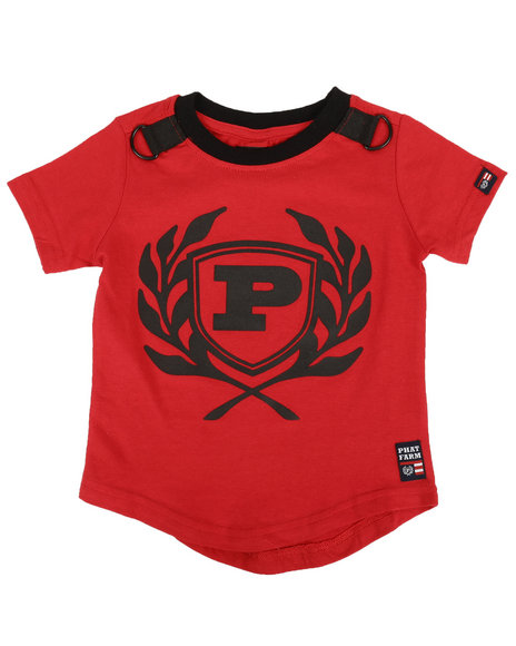 Phat Farm - Solid Crew Neck Scoop Bottom Tee W/ Rubber Patch (2T-4T)