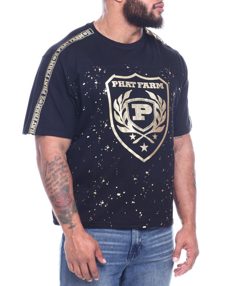 Phat Farm - S/S Foil Printed Crew Neck Jersey W/ Should Tape (B&T)