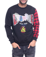 Sweatshirts & Sweaters - Plaid Sleeve Crewneck Sweatshirt-2314372