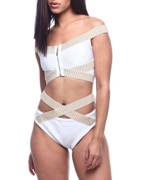 Wow Couture - CRISS CROSS OFF SHOULDER ZIP FRONT TWO PIECE BIKINI