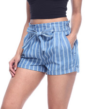Almost Famous - STRIPE PAPERBAG WAIST DENIM SHORT-2314777