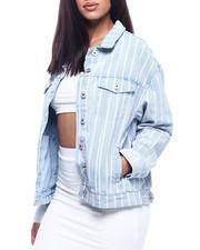 Fashion Lab - Oversized Denim Boyfriend Stripe Jacket-2314284