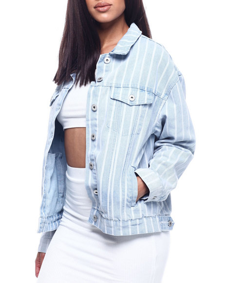 Fashion Lab - Oversized Denim Boyfriend Stripe Jacket