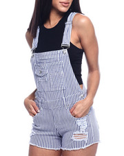 Almost Famous - STRIPE DESTRUCTED FRAYED HEM SHORTALL-2315521