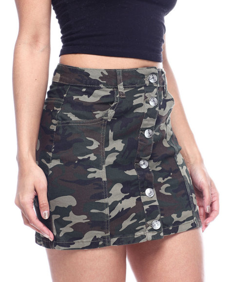 Almost Famous - BUTTON UP FRONT CAMO SKIRT