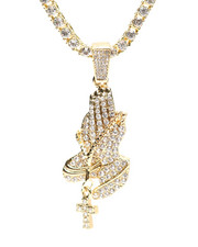 Accessories - Praying Hands Chain Necklace-2316173