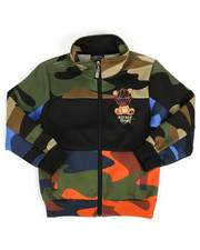 camo print track jacket w/ embroidery patch (4-7)