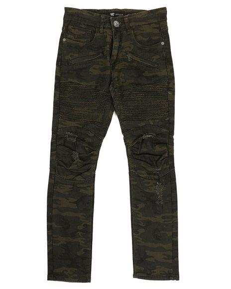 Arcade Styles - Pleated Knee Camo Moto Jeans (8-20)