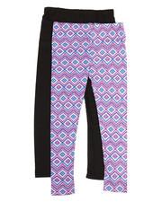 Girls - 2 Pack Solid & Printed Capri Leggings (7-16)-2315579