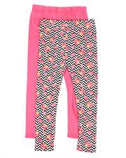Girls - 2 Pack Solid & Printed Capri Leggings (7-16)-2315571