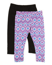 Bottoms - 2 Pack Solid & Printed Capri Leggings (2T-4T)-2315575