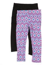 Girls - 2 Pack Solid & Printed Capri Leggings (4-6X)-2316320