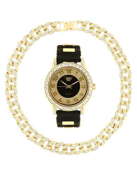 Buyers Picks - Watch And Iced Out Cuban Necklace Gift Set