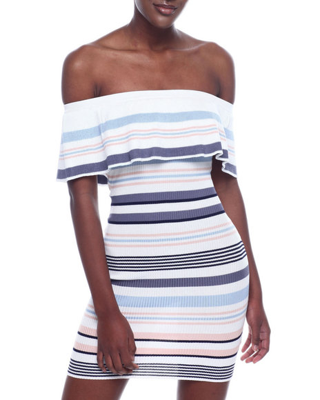Almost Famous - S/L Rib Stripe Off The Shoulder Flounce Dress