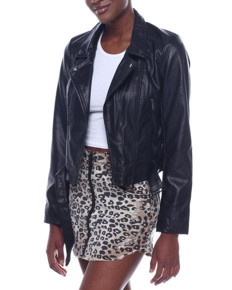 Fashion Lab - Faux Lambskin Moto Jacket W/ Zipper Pockets