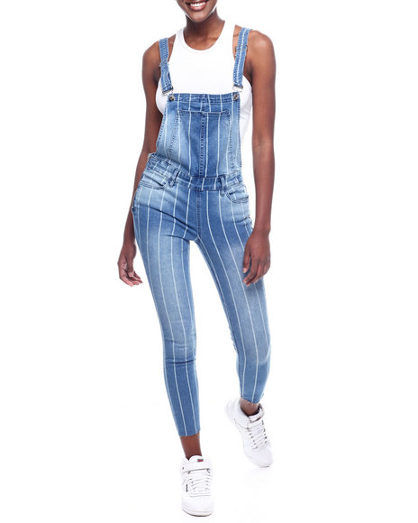 Almost Famous - Stripe Denim Paper Bag Waist Overall