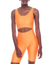 Fashion Lab - Shinny Nylon Cutout S/L Bermuda Body Suit-2320058