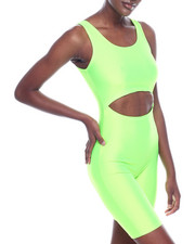 Athleisure for Women - Shinny Nylon Cutout Strapless Bermuda Body Suit-2320139