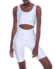 Fashion Lab - Shinny Nylon Cutout S/L Bermuda Body Suit-2320075