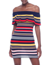 Almost Famous - S/L Rib Stripe Off The Shoulder Flounce Dress-2318320