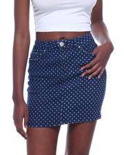 Bottoms - 1 Button Polka Dot Denim Skirt-2319932