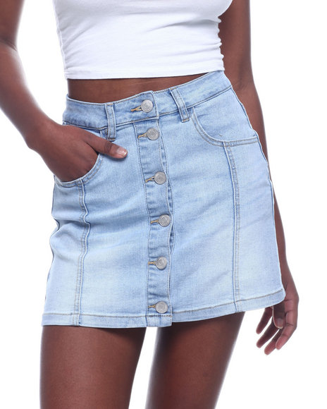 Almost Famous - Button Front Denim Skirt