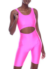 Athleisure for Women - Shinny Nylon Cutout Strapless Bermuda Body Suit-2320118