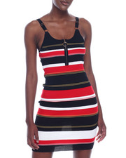 Almost Famous - Stripe Half Zip Cami Strap Sweater Rib Dress-2320021